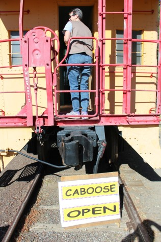 I had Lee take a pic of my caboose in the caboose :)