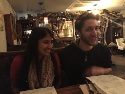 Nick and Slushie at dinner