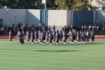 The Virginia Military Institute had both a band and a piping team. They were my favorite