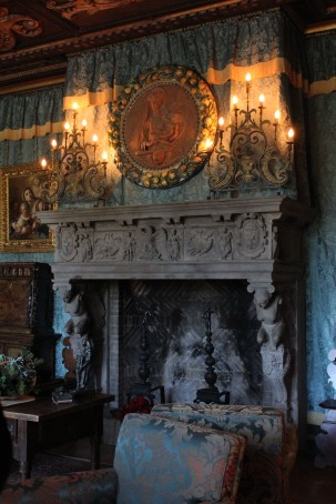Fireplace in the main room. All the mantles are very old