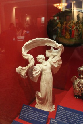 This stautue was given by the First LAdy of France to commemorate the centennial of the gift of the Statue of Liberty