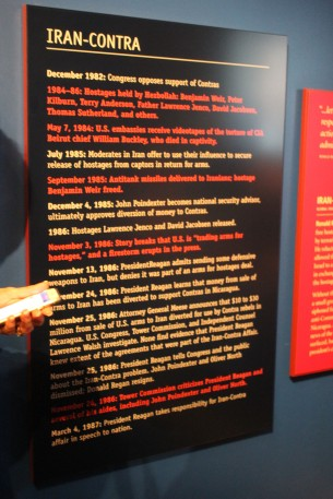I particularly appreciated that they included a timeline of the Iran Contra scandal. They didn't gloss over the more negative aspects