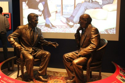 Nice statues of the famous meetings between Reagan and Gorbachev with video playing behind