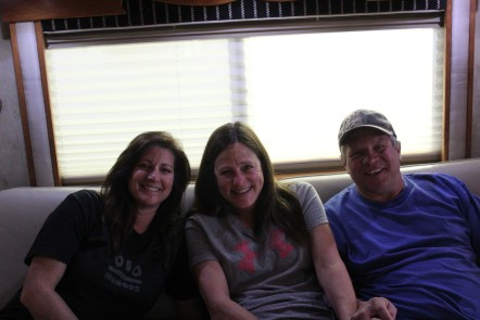Deb, Barb, and Jim watching the game