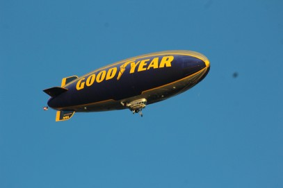The Goodyear blimp was overhead