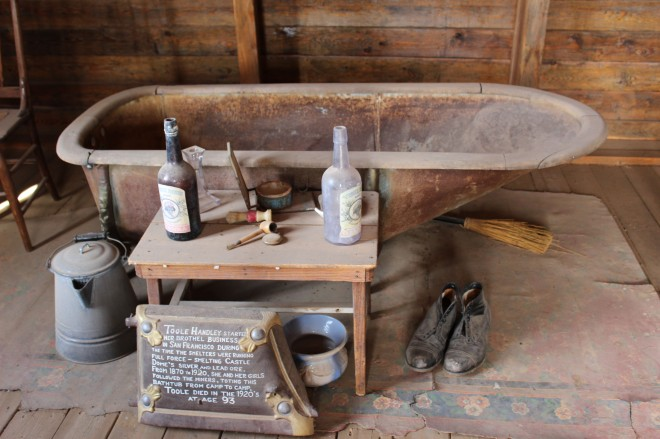 My favorite antique was this bathtub which was carryed from mining camp to mining camp by a madam and her girls. Say what you want but there were limited job opportunities for women in the west and for the times she was an entrepreneur using what she had to work with