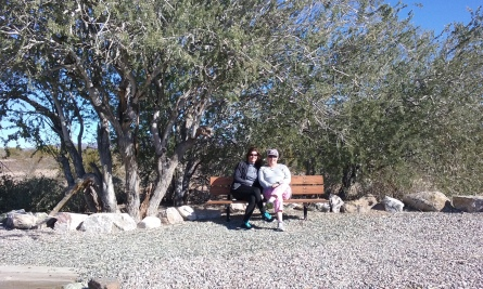 Deb and Ellen on a random bench along the bike path