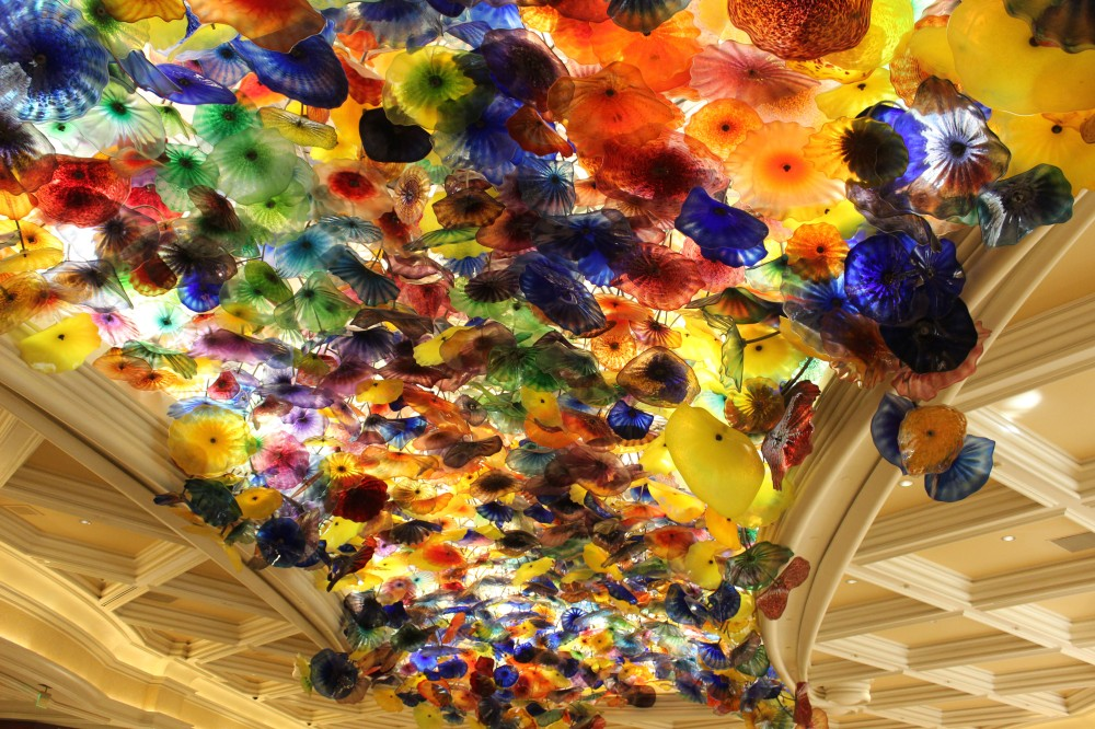The lobby ceiling is full of Chihuly glass and absolutely amazing
