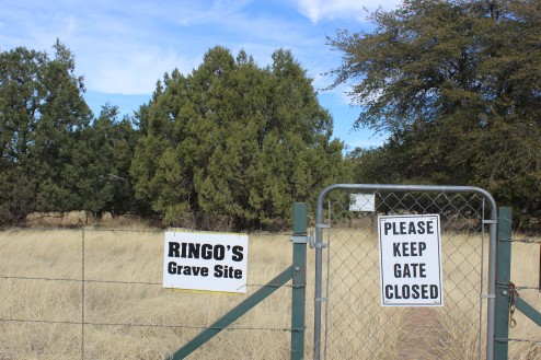 The gate to walk back to the gravesite