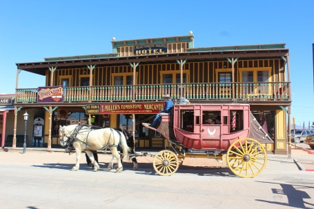 People were going on stagecoach rides throughout the day