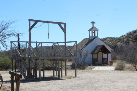 We couldn't go into the church because it was recently infested by black widow spiders. It is the desert after all