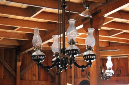 He found this beautiful light fixture and cleaned and repaired it. IT pulls down from the ceiling