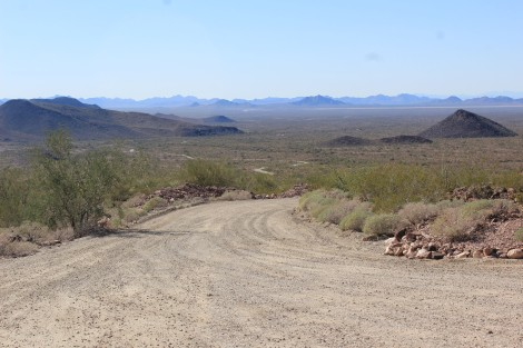 The view from the end of the road back to the desert