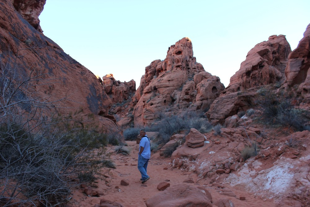 WE started down the petroglyph trail which is flat, mostly pink sand, and only .75 miles out and back
