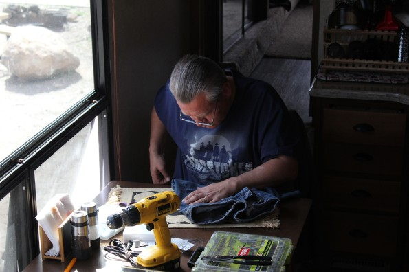 Truly a renaissance guy. He can sew and drill :)