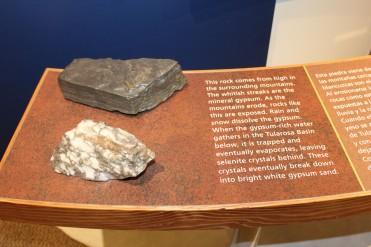 Gipsum rock sample in teh visitors center