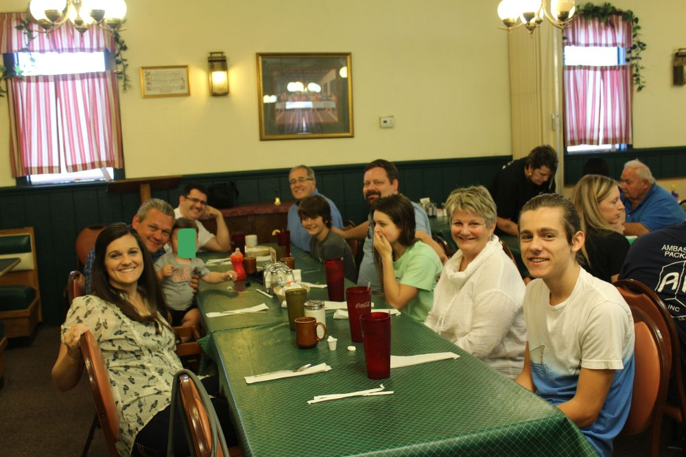 The whole family at Anna J's ...sorry I had to block out Abram's face