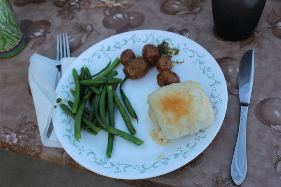 Crab-stuffed sole, green beans, and little potatoes