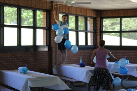 Jeremy and Kyrston stringing balloons