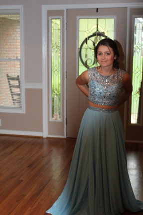 Bailey modeled her prom dress for Mom and I. She was a good sport about it