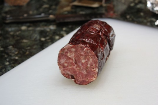 This is a picture of the summer sausage that Pat makes himself, wow was it good