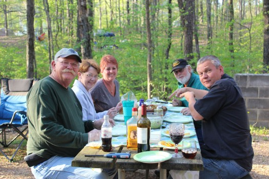 From Left: Craig, Jo, Sue, Guy, and Lee. Lee wants me to sit down so we can eat lol