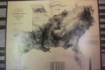 A map showing the concentration of slaves in the Confedercy. The darker colors had more slaves and many counties had none at all