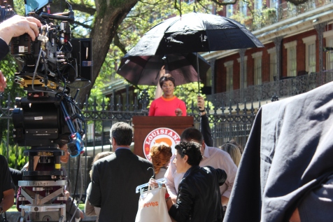 A Popeye's chicken commercial was being filmed in Jackson Square which was cool