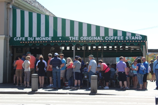 Cafe Du Monde where the line was super long throughout the day with people waiting to get beignets.