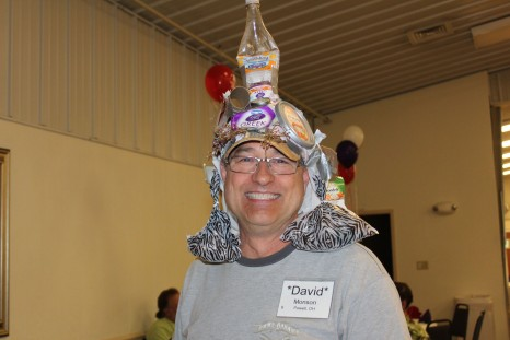 Winner of the best hat made from recycled material...Dave from my hometown of Columbus, Ohio