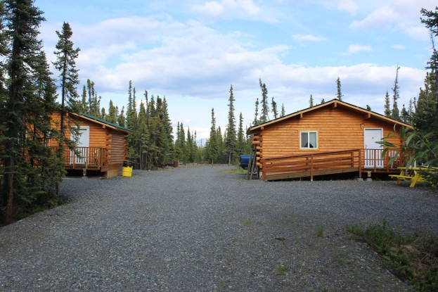 The really nice cabins in the back have a view of the mountain as well