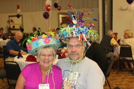 Joe and Teresa won best humorous hat!!