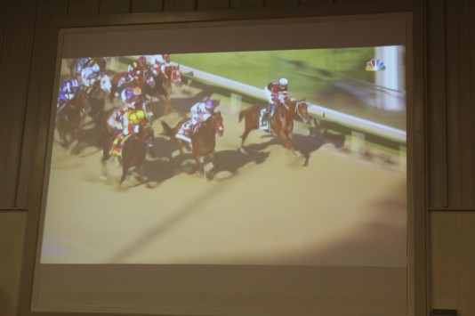 Watching the race on the big screen