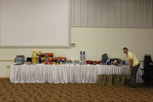 The big table of door prizes