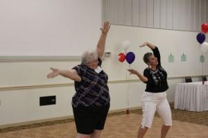 Lu and Linda dancing to YMCA
