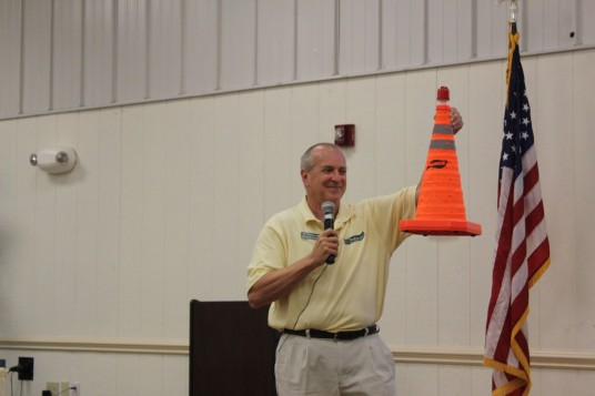 Howard showing off their light able emergency cones