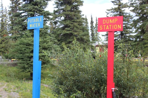 My favorite two new signs because I will never again have to answer the question which water spigot is to fill and which is for the dump