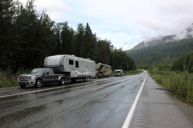 Our rig, Kelly and Bill's, and Jo and Ben's truck camper (they left their Arctic Fox in storage back in Washington)