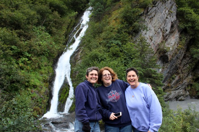 Me, Kelly, and Jo checking out the waterfall