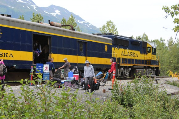 The train arrived and folks who had camped over the weekend were loading their stuff