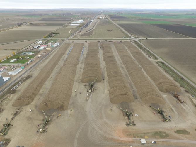 Lee's aerial drone shot of the piles when done. Pile 2 is second from left in picture. Look how pretty