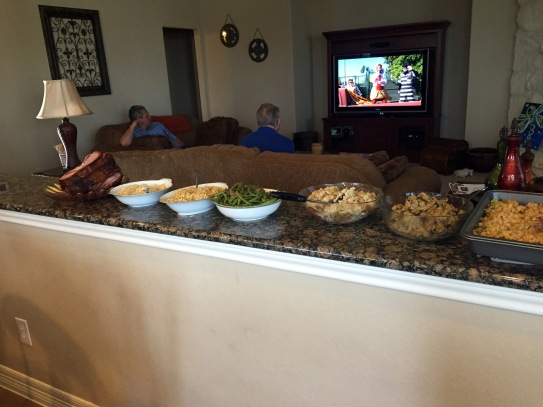Beautiful spread and Lee watching TV with Cori's dad