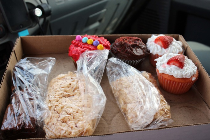 Picked up these yummy cupcakes for 50 cents a piece to support the local cheerleading group